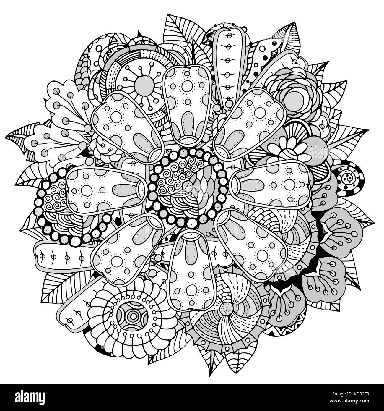 Six Black Flower Design Stock Images: Black And White Circle Flower Ornament, Ornamental Round