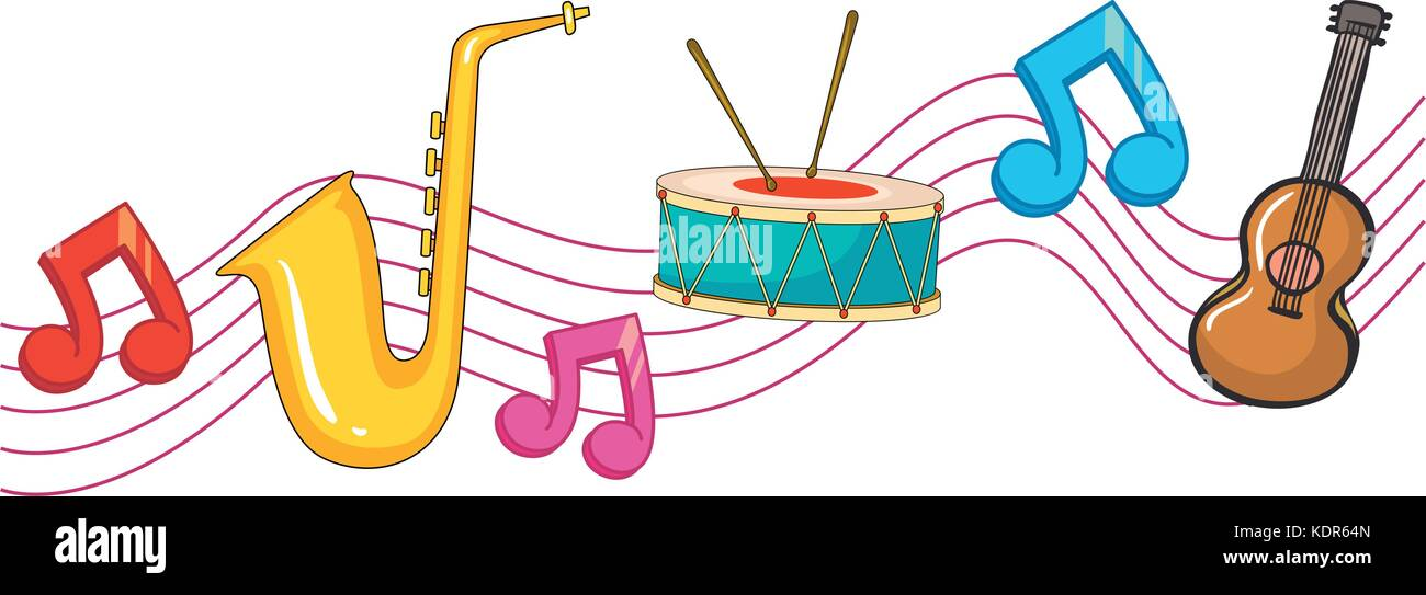 Different Types Of Instruments With Music Notes In Background Illustration