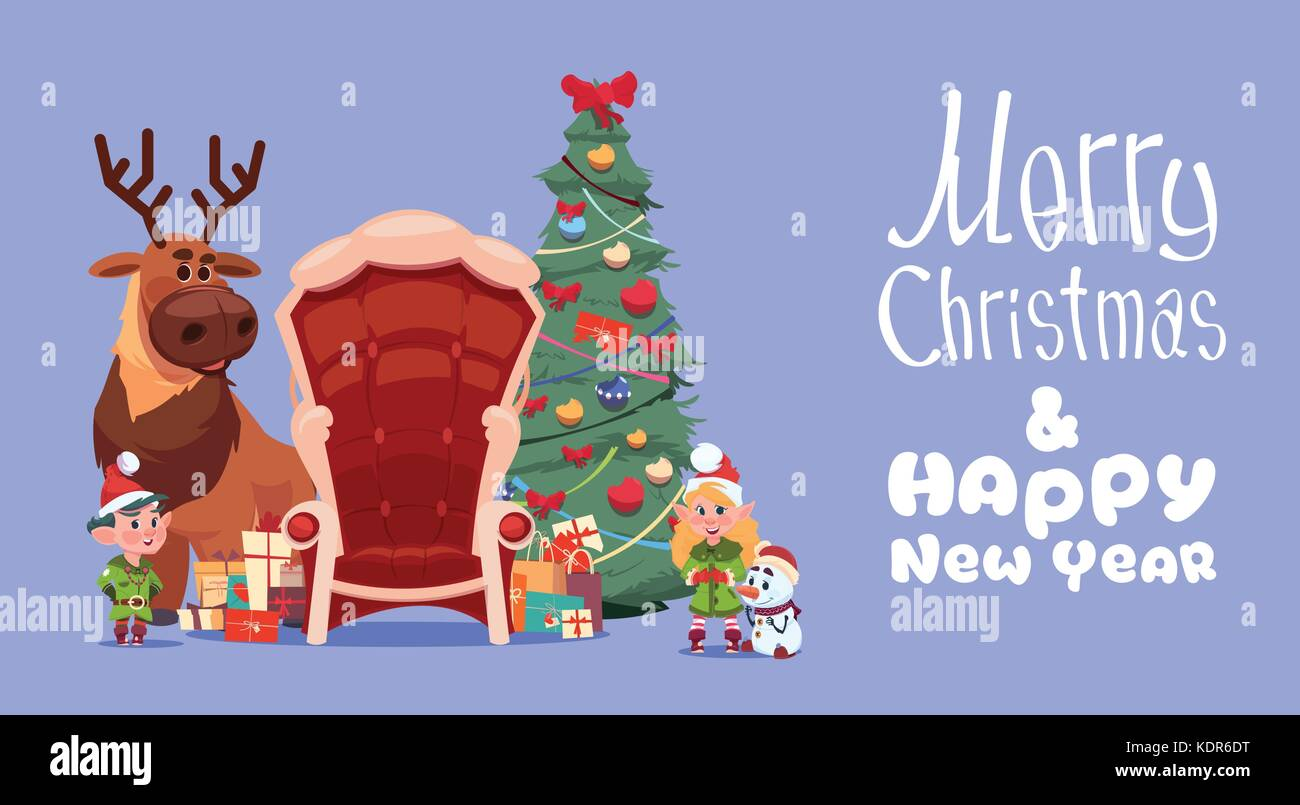 Merry Christmas And Happy New Year Greeting Card Concept Winter