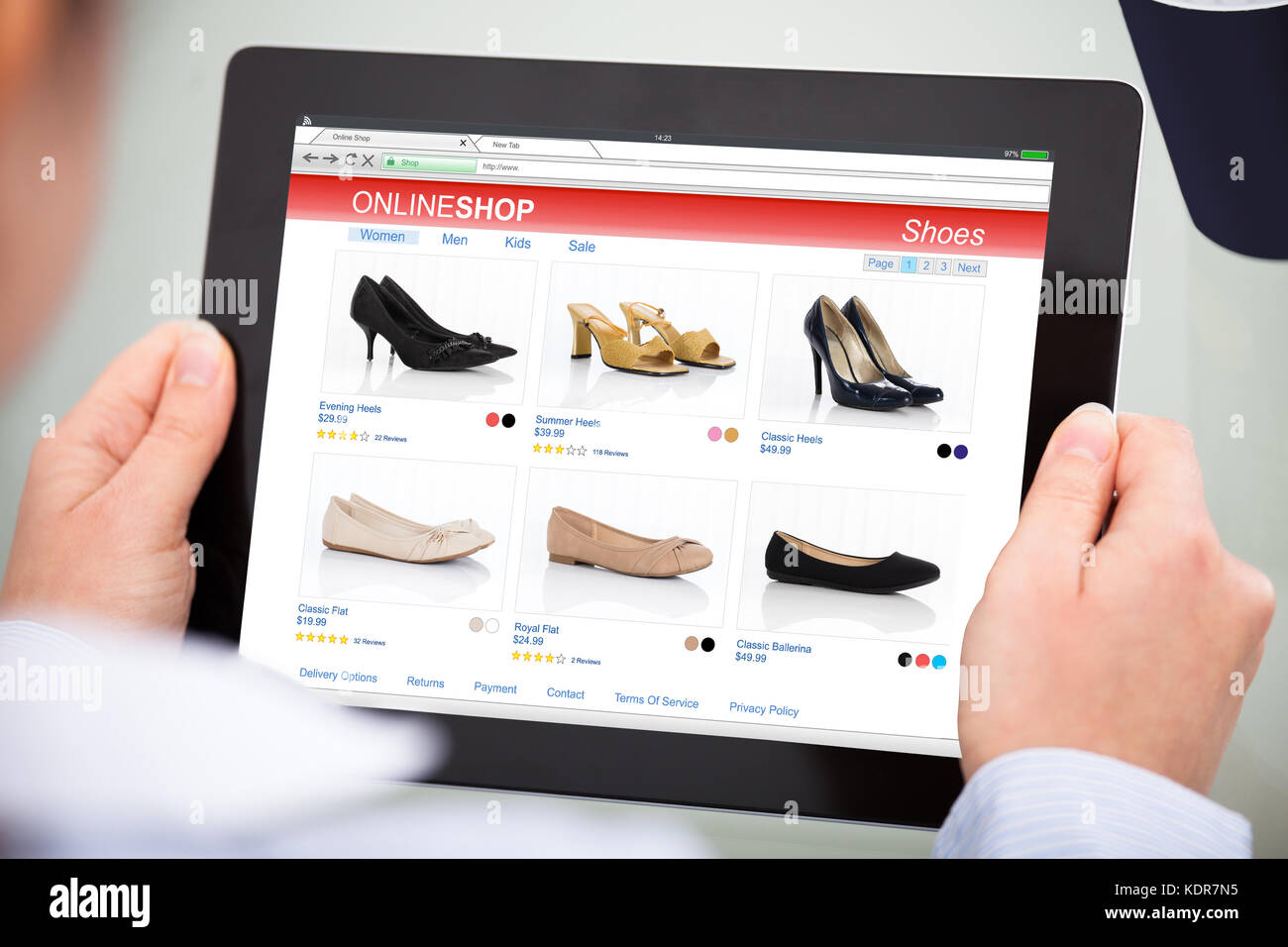hand shoes sale on market stock photos hand shoes sale on market stock images alamy. Black Bedroom Furniture Sets. Home Design Ideas