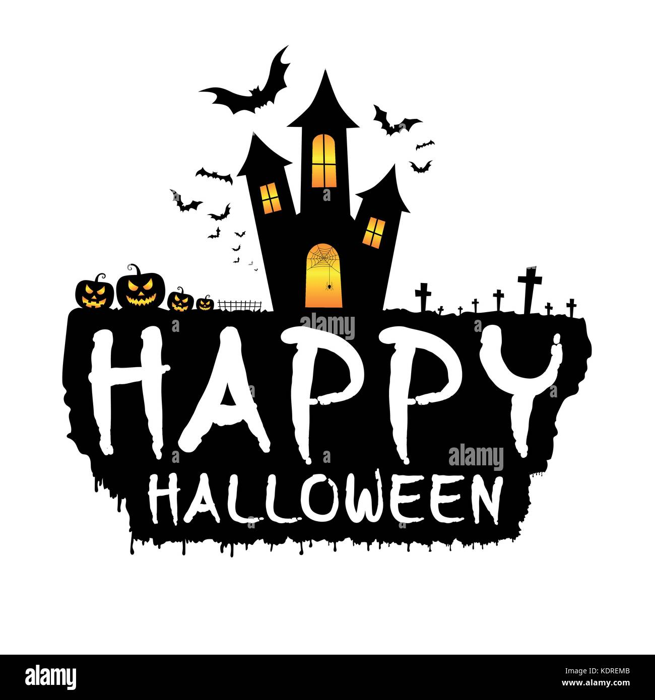 Happy halloween with dark castle, scary pumpkins, bats and graveyard ...
