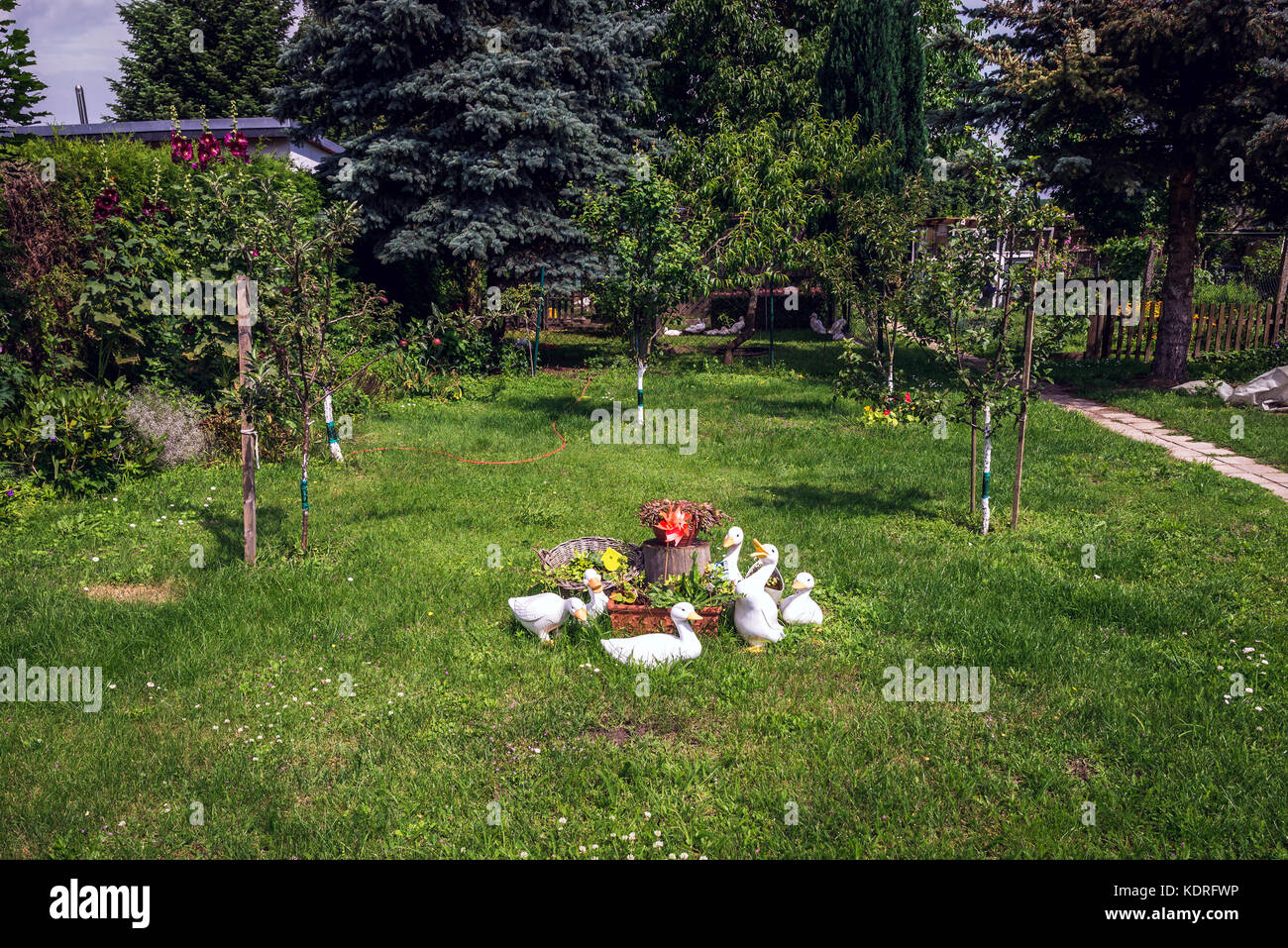 Garden Figures On A Courtyard In Gartz Town In The Uckermark District Of  Brandenburg Federal State In Germany