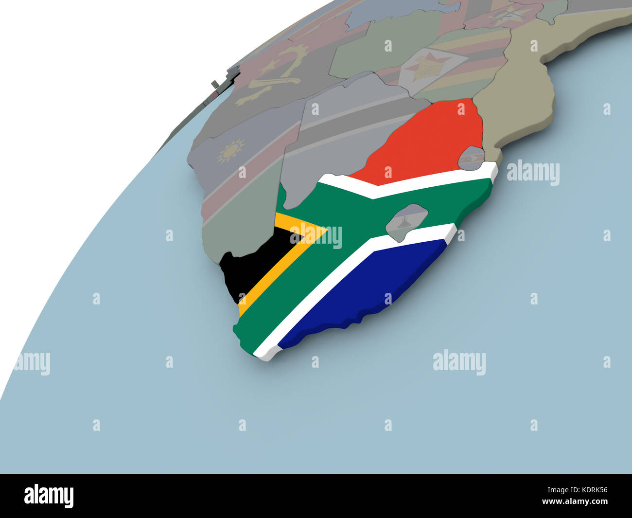 South Africa on political globe with embedded flags 3D