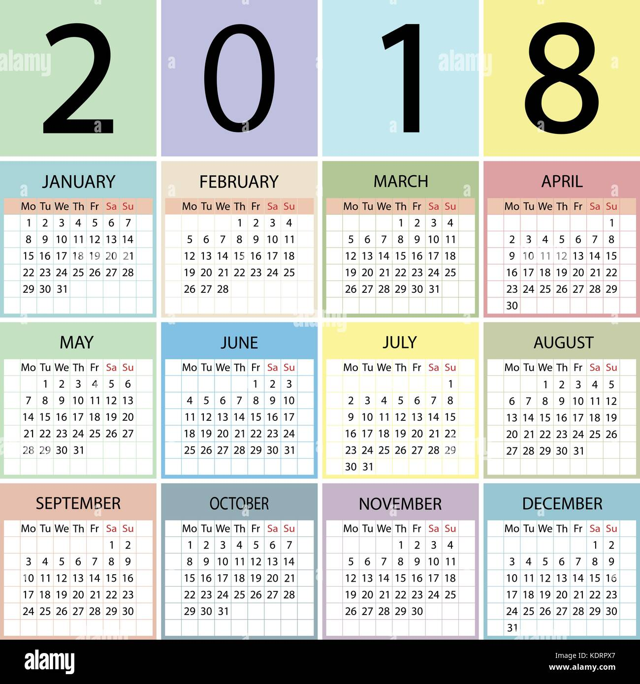 Year Calendar Starting : Calendar year week starts with monday stock vector