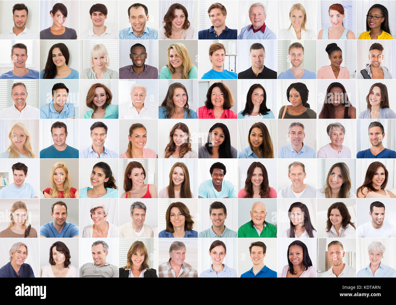 collage of smiling multiethnic people portraits and faces stock