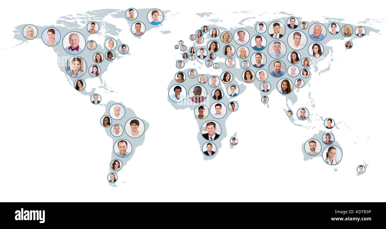 Collage map people stock photos collage map people stock images collage of multiethnic people on world map at white background global business concept stock gumiabroncs Gallery