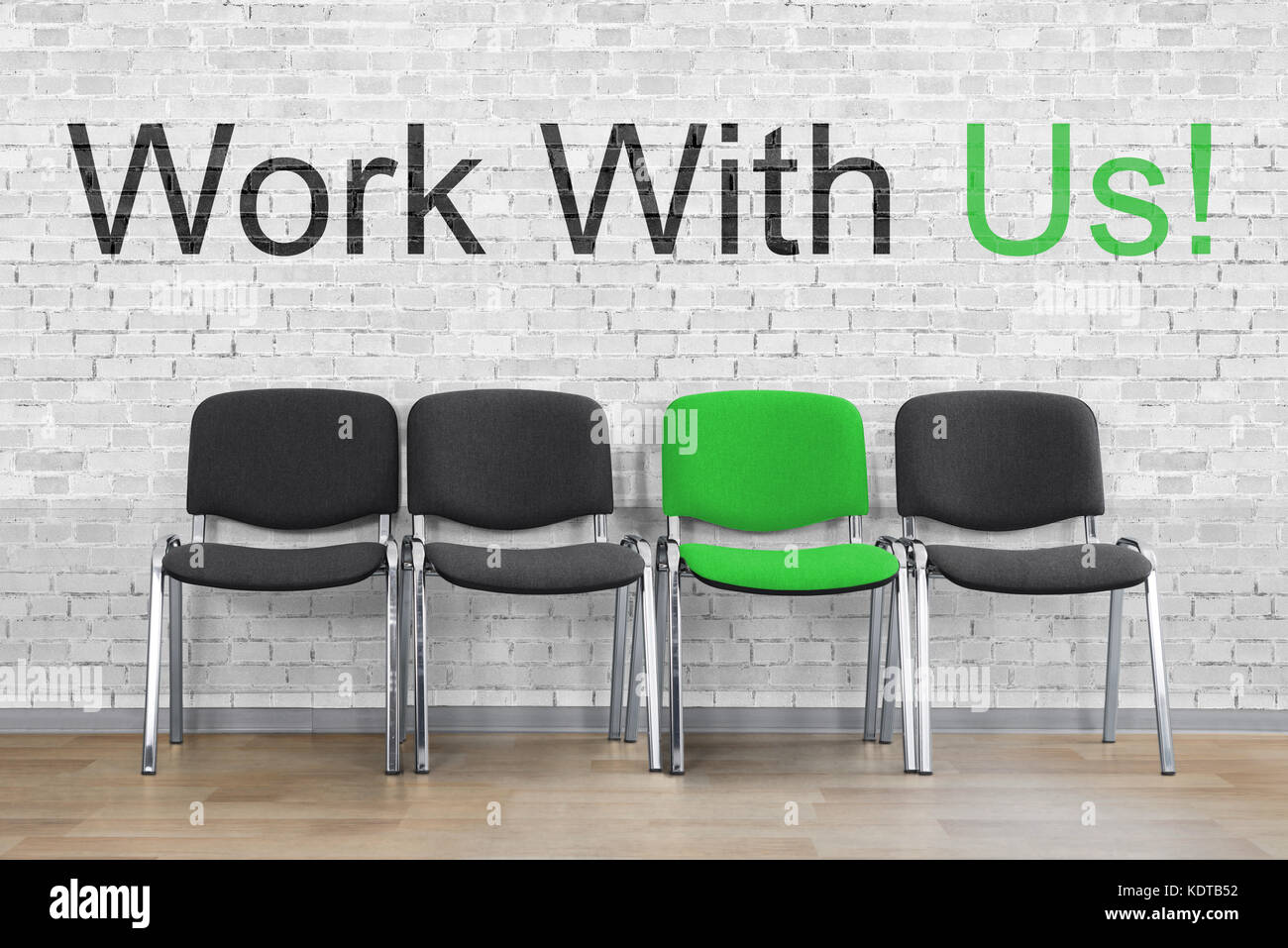 Work With Us Written With An Empty Chair In A Row. HR Resource Stock ...