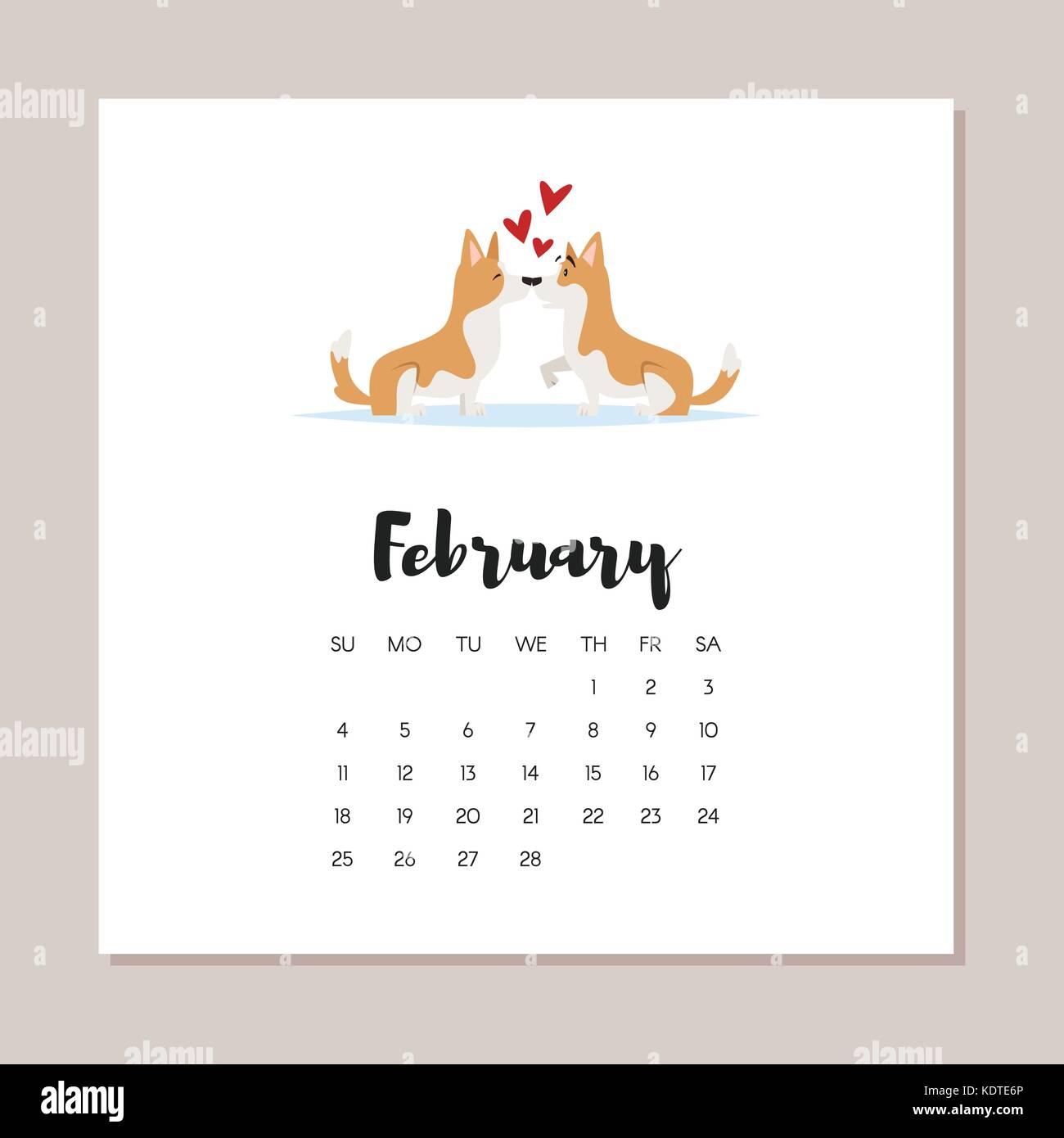 February Calendar Illustration : Vector cartoon style illustration of february dog
