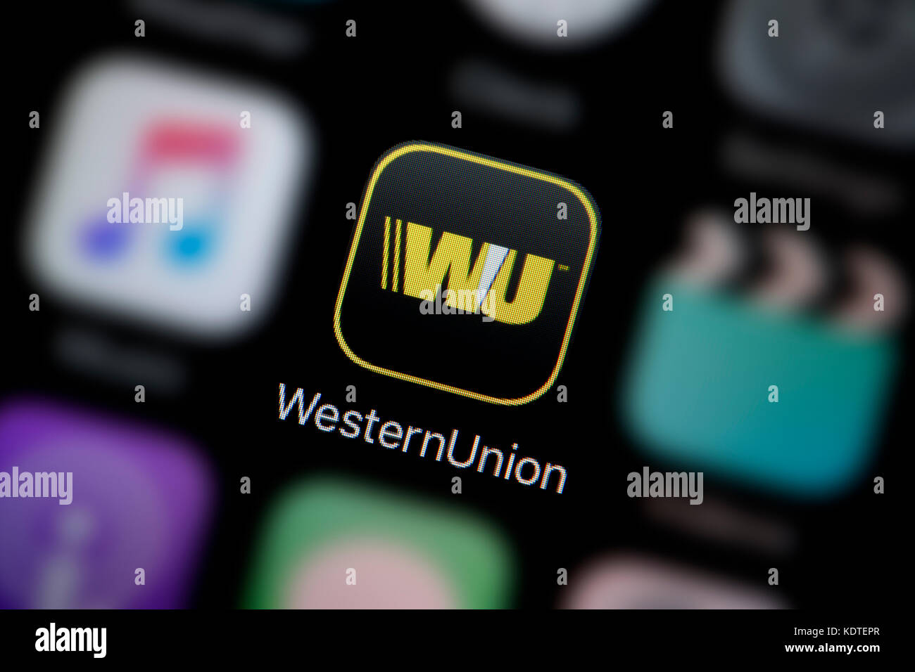Unionlogo stock photos unionlogo stock images alamy a close up shot of the logo representing the western union app icon as biocorpaavc Choice Image