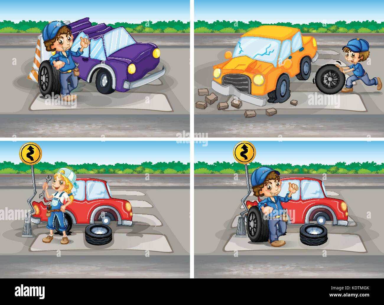 Accident scenes with broken car and mechanics illustration Stock ...