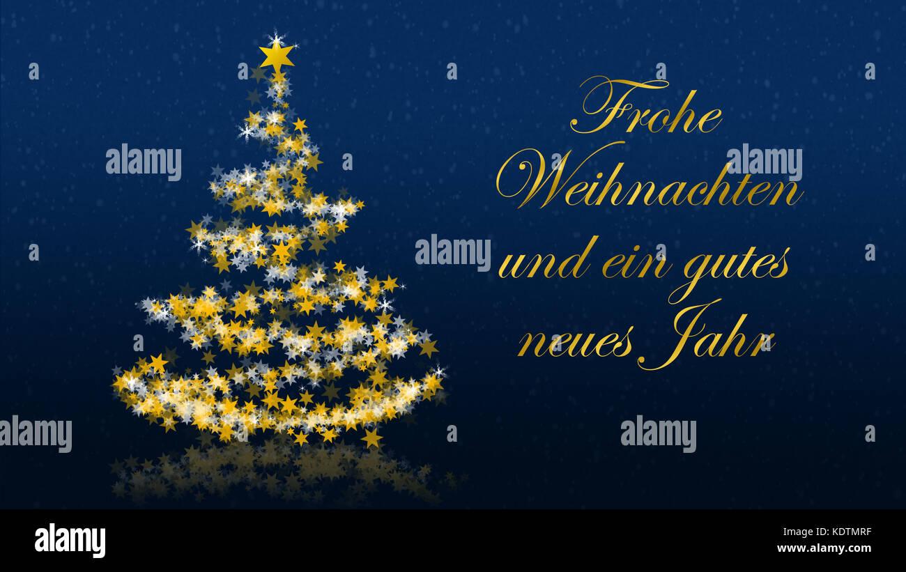 German new year greetings stock photos german new year greetings christmas tree with glittering stars on blue background with seasons greetings german version part kristyandbryce Images
