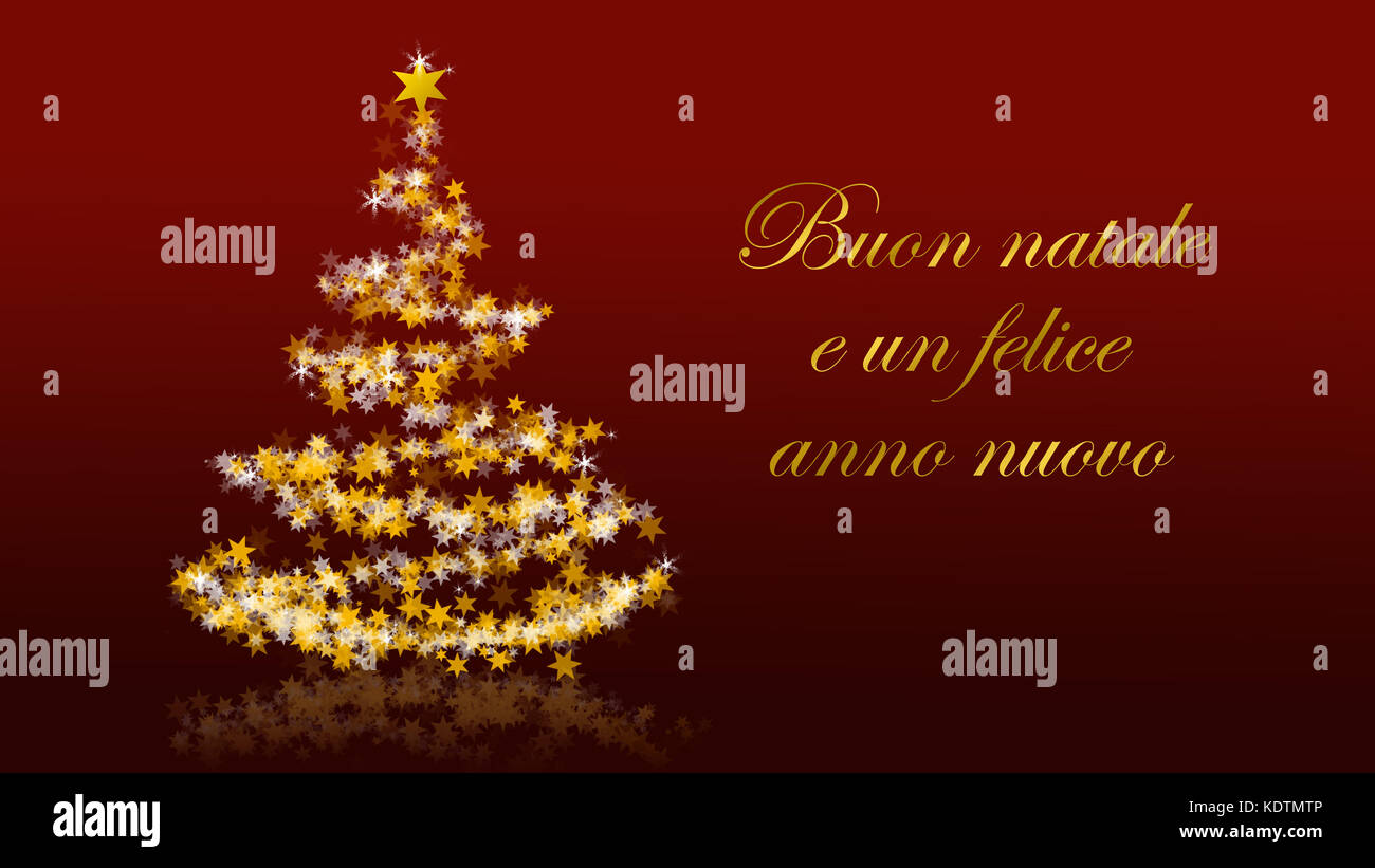 Seasons greetings banner stock photos seasons greetings banner christmas tree with glittering stars on red background with seasons greetings italian version part kristyandbryce Images