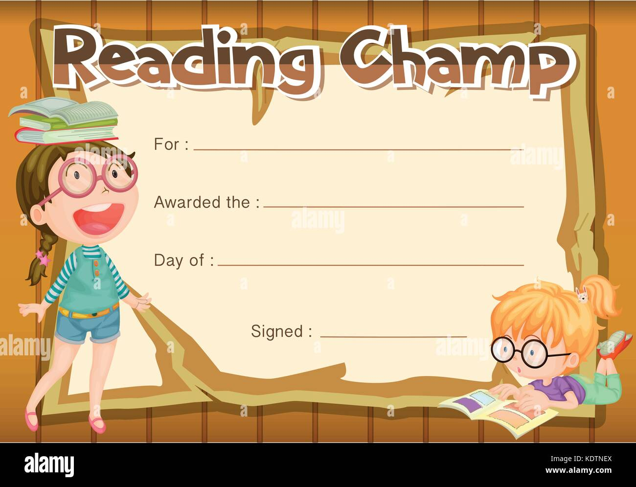 Template school diploma children stock photos template school certificate template for reading champ illustration stock image alramifo Images