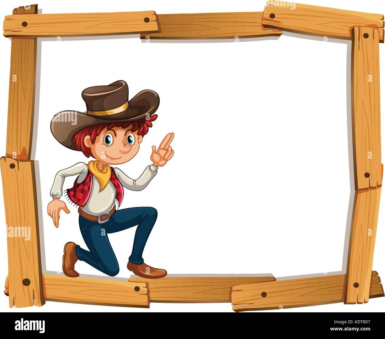 Frame template with cowboy illustration Stock Vector Art ...