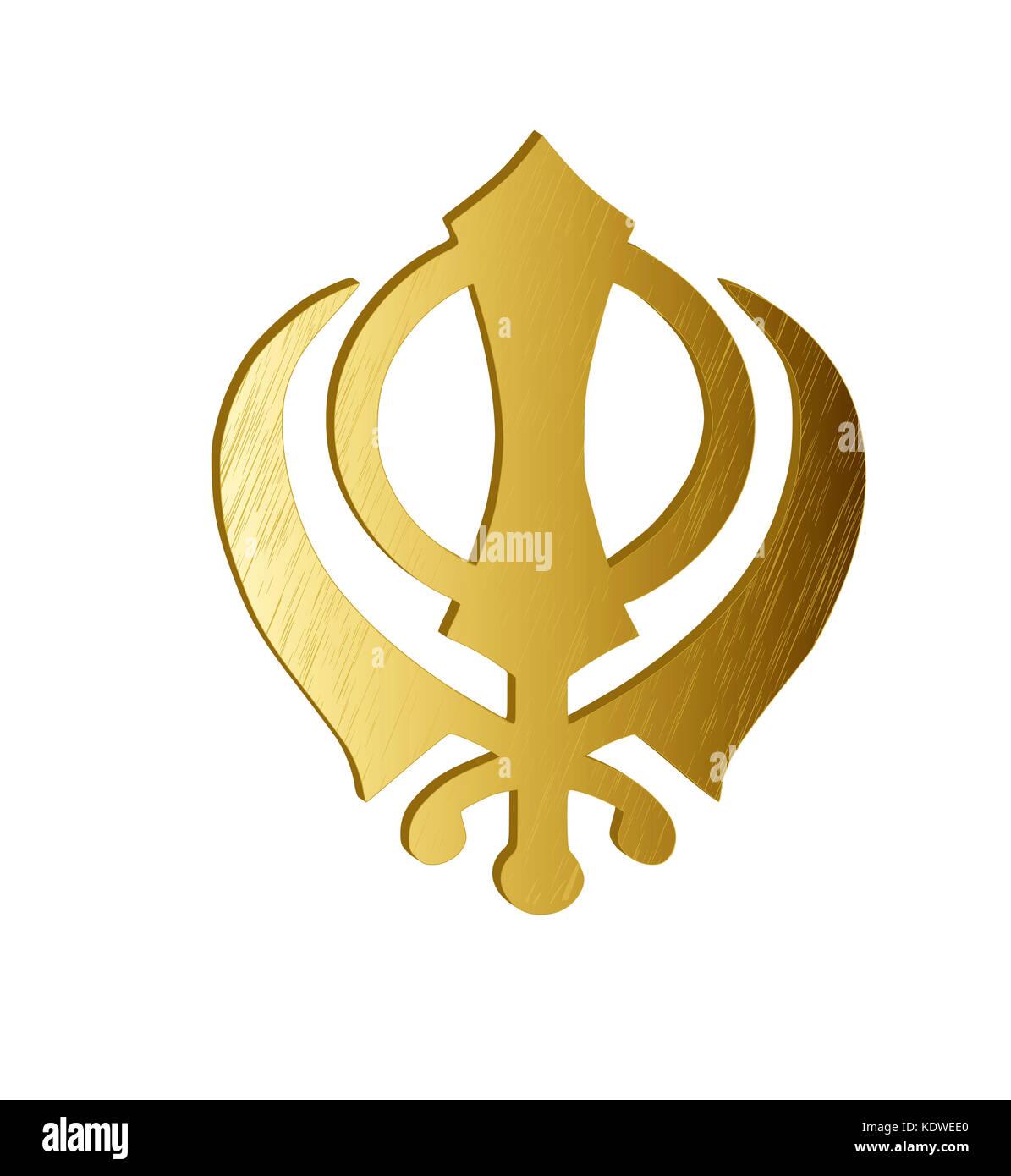The main symbol of sikhism sign khanda made of gold metal white the main symbol of sikhism sign khanda made of gold metal white background isolated illustration biocorpaavc