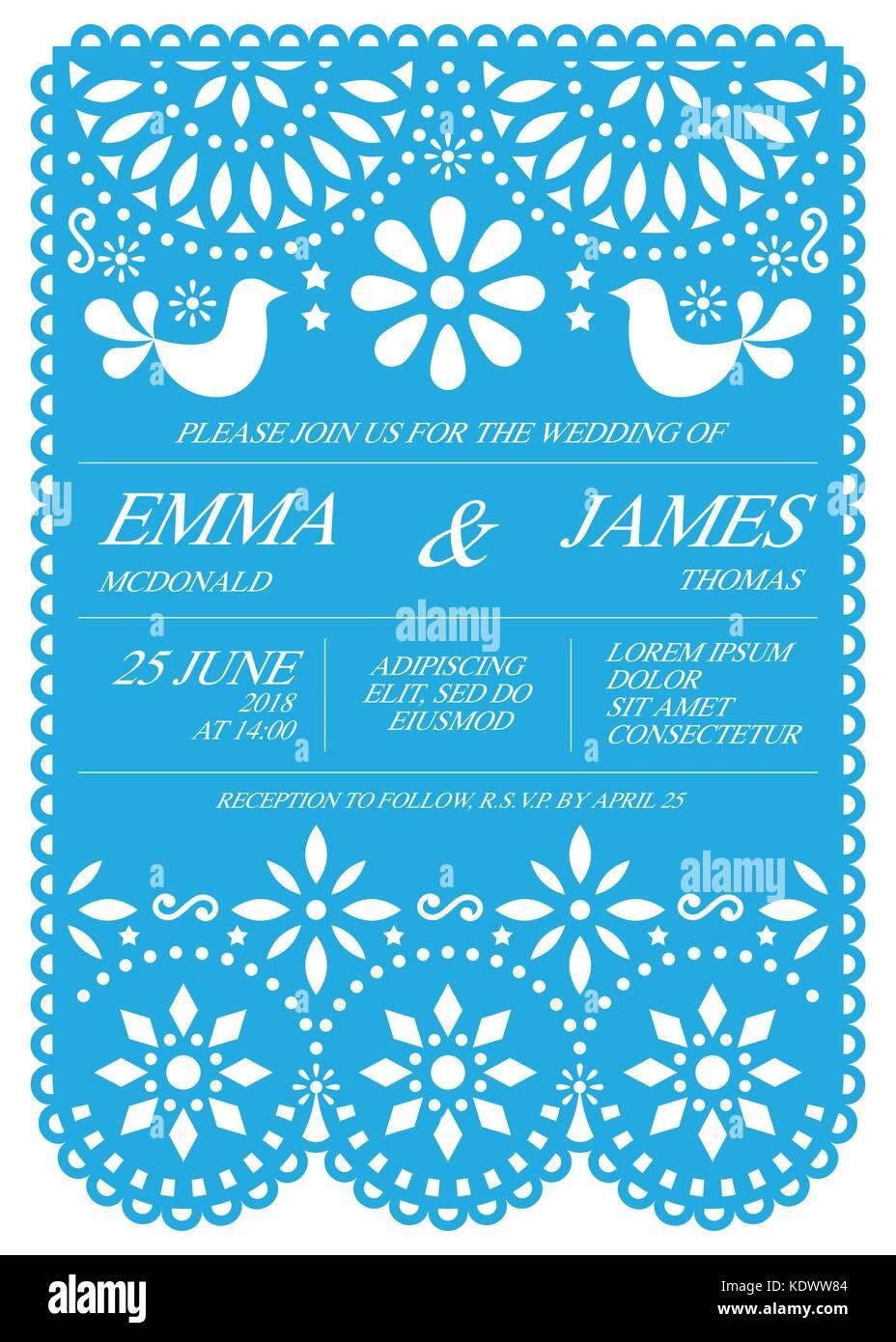 Wedding Invitation Vector Card Template Mexican Folk Papel Picado