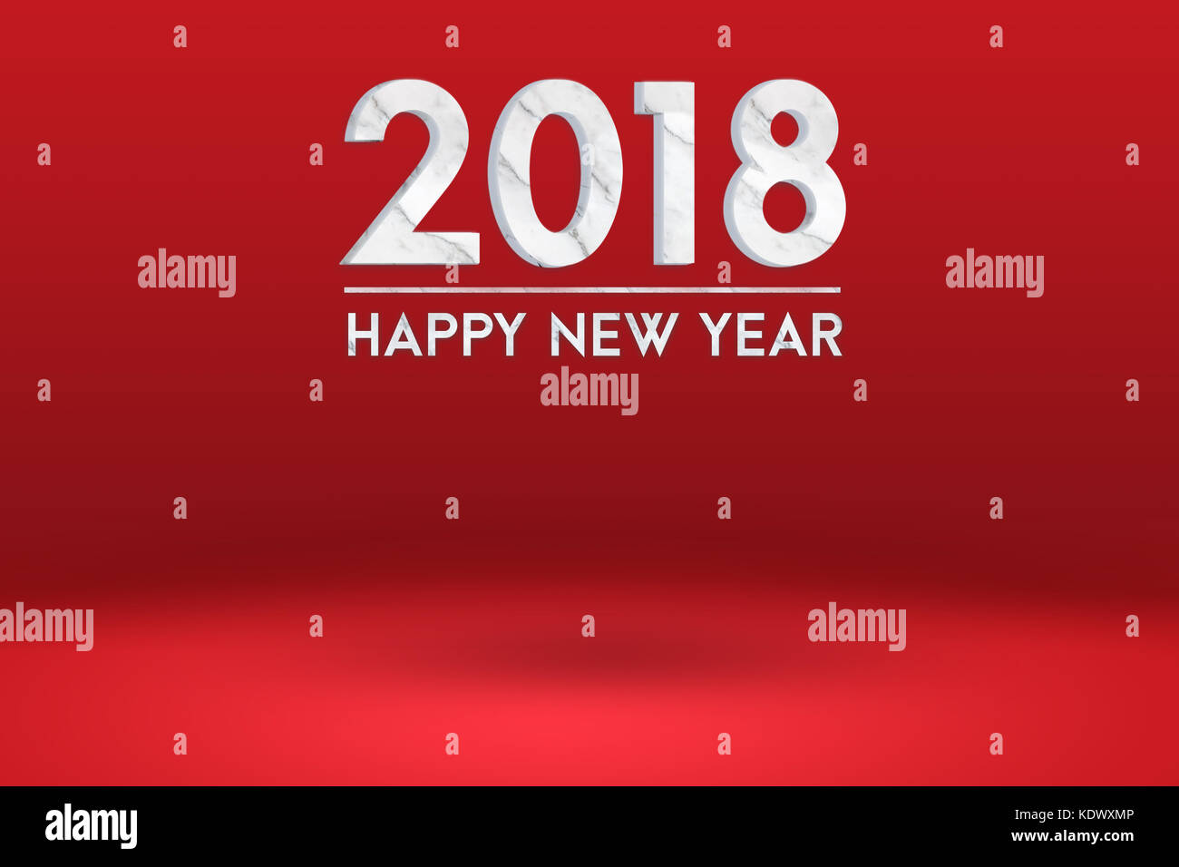happy new year 2018 marble texture 3d rendering at red studio backdropmock up for adding or display of product and textholiday banner for adverti
