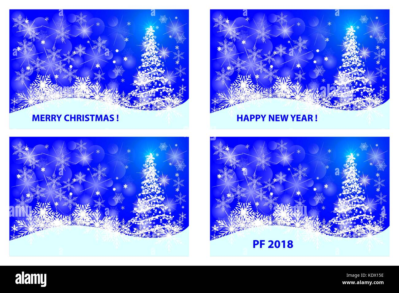 merry christmas happy new year pf 2018 christmas card white and blue vector set