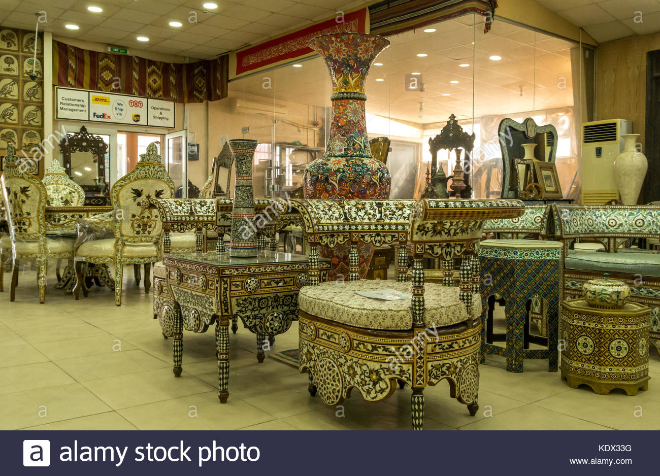 Interior Of Madaba Art And Handicraft Centre With Mother Of Pearl Inlay  Woodwork And Furniture In Shop Display, Jordan, Middle East
