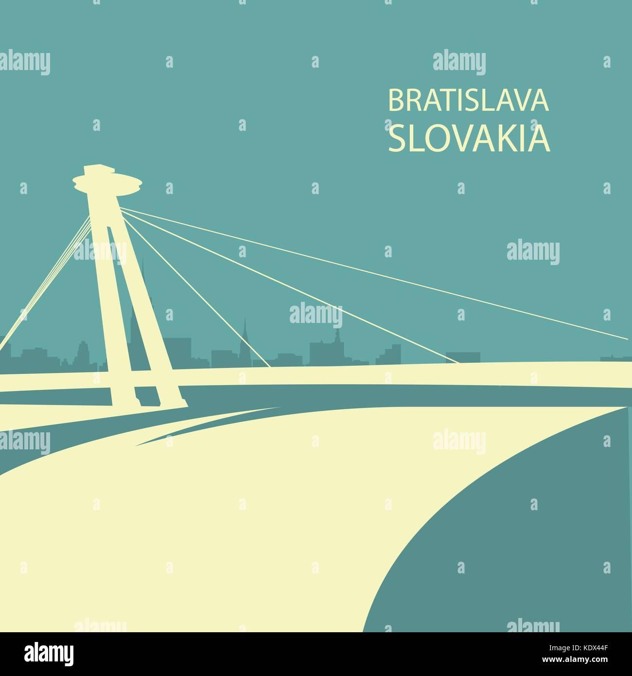 bratislava cityscape with ufo bridge silhouette slovakia stock