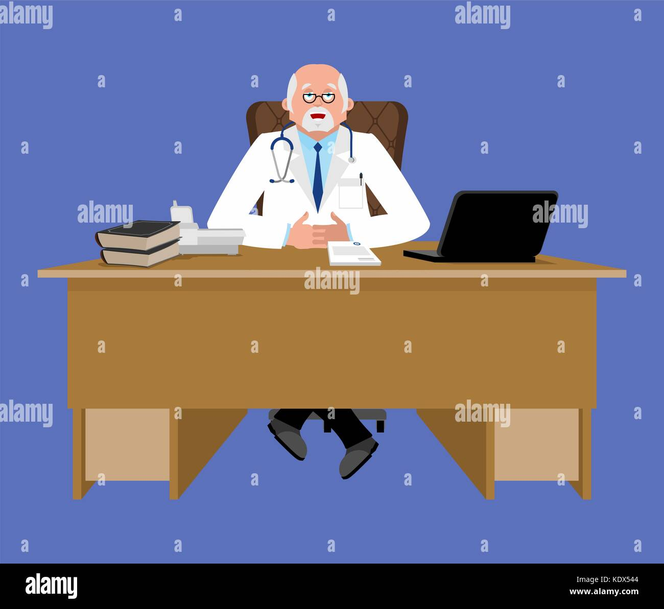Chief Doctor At Desk Medical Office Physician Working In His Stock