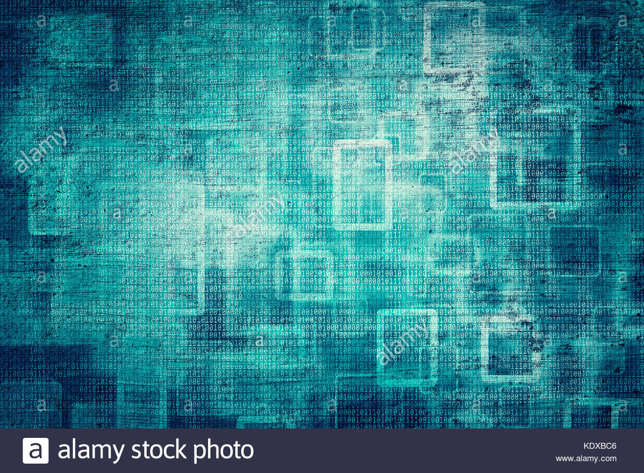 Grunge abstract bokeh dark turquoise color binary numbers concept ...