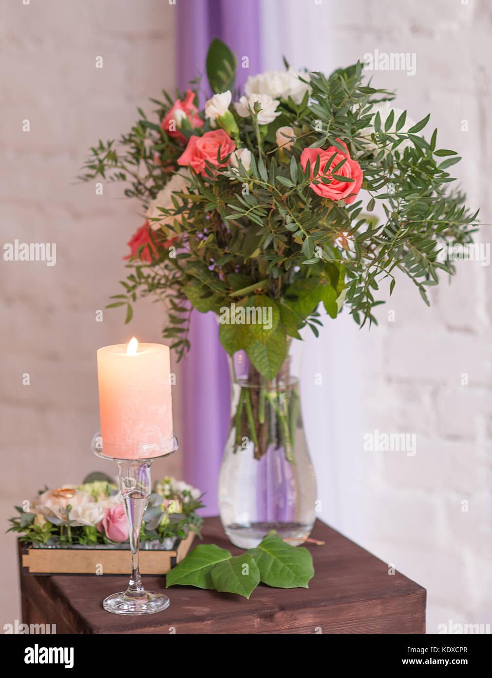 Colorful Flower Bouquet Arrangement Centerpiece In Vase On Wooden