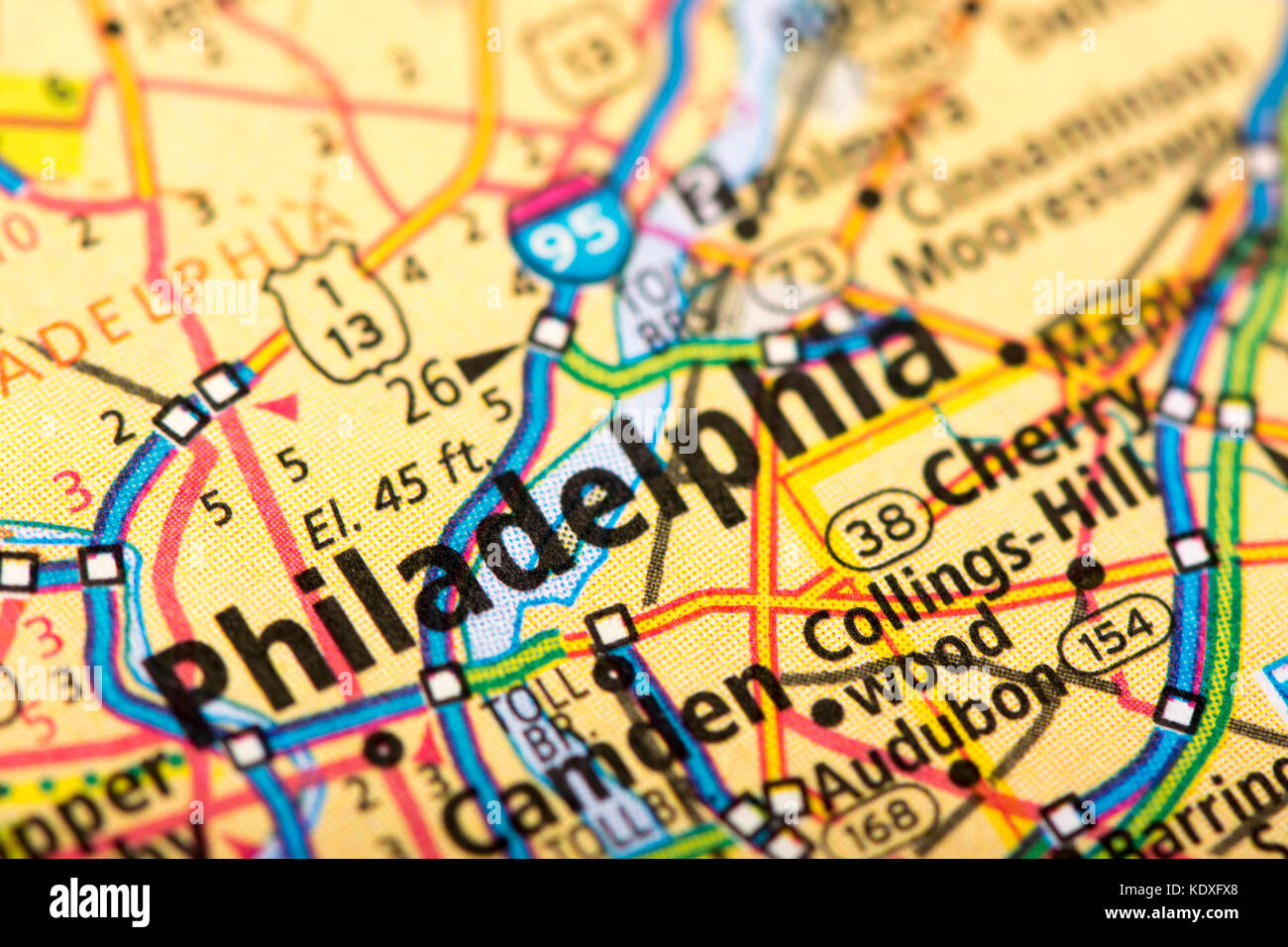 Closeup of Philadelphia, Pennsylvania on a political map of the ...