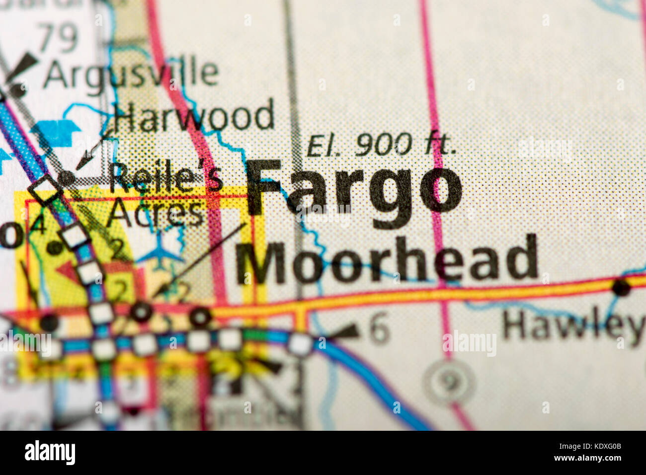 Closeup of Fargo North Dakota on a political map of the United