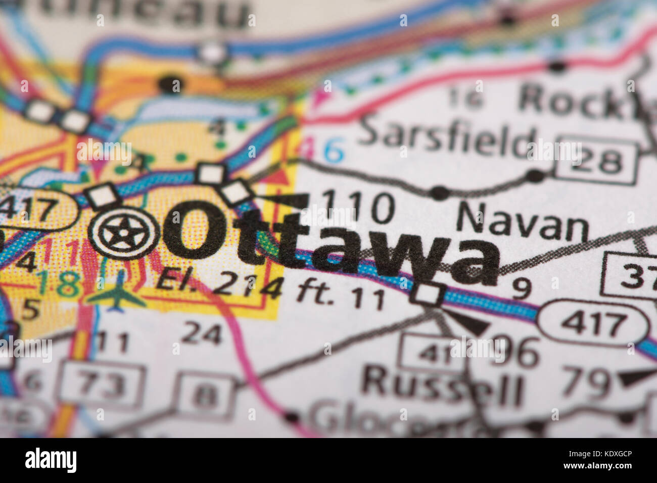 Closeup of Ottawa Ontario on a road map of Canada Stock Photo