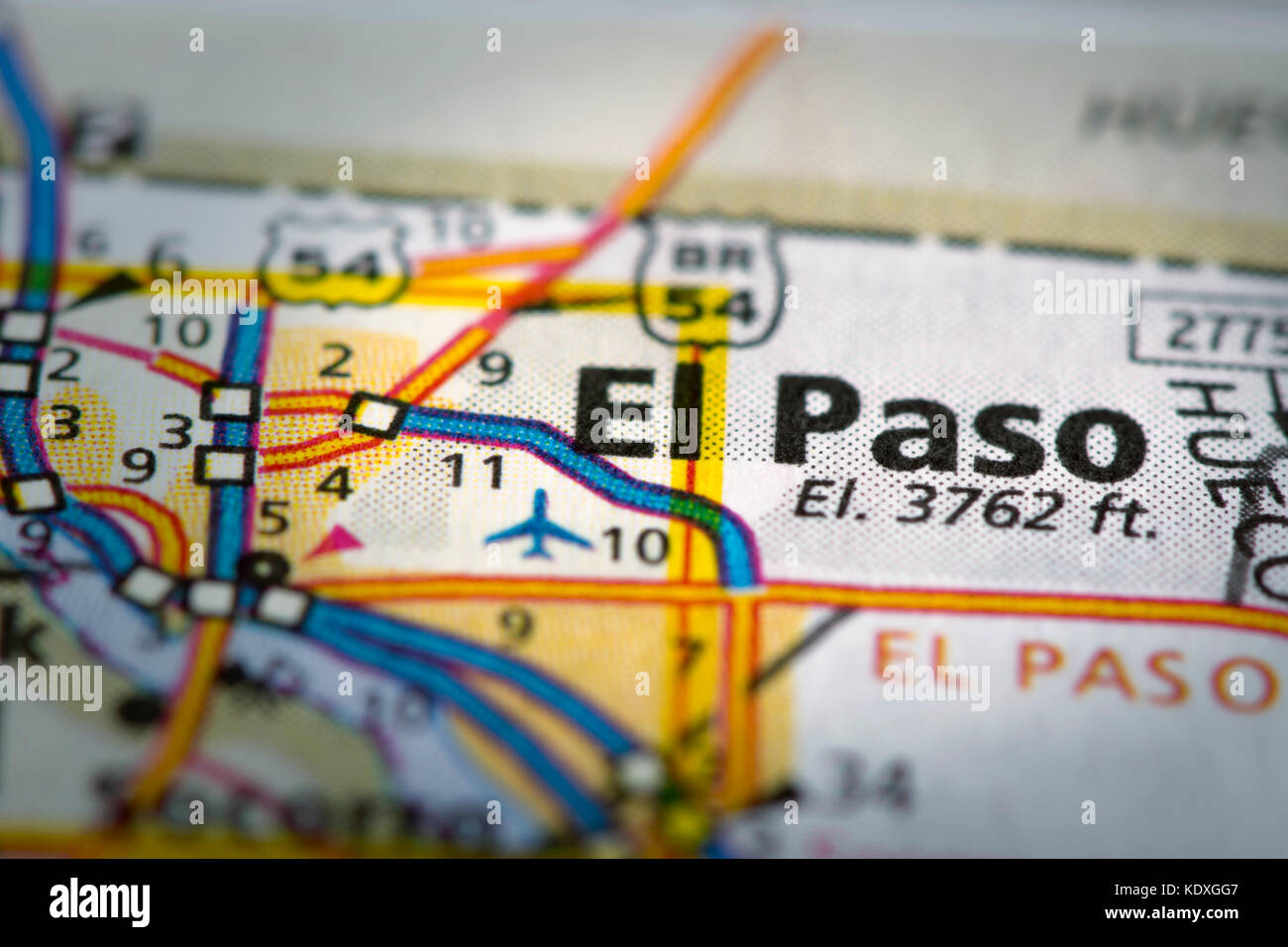 Closeup of El Paso Texas on a road map of the United States Stock