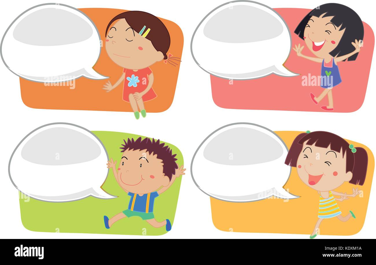 speech bubble template with happy children illustration stock vector