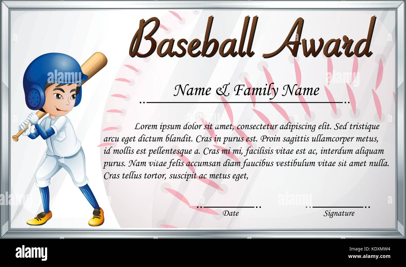 Certificate template for baseball award with baseball player stock certificate template for baseball award with baseball player background illustration yelopaper Gallery