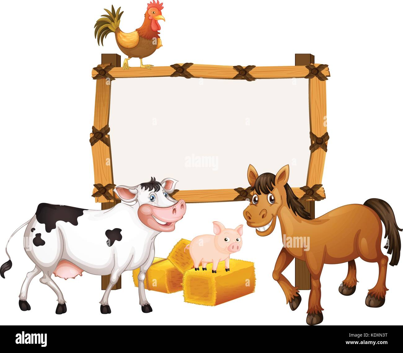 Frame template with animals in the farm illustration Stock Vector ...