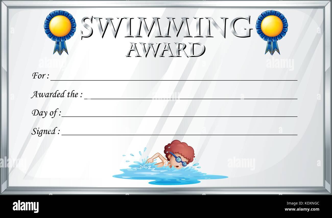 Certificate template for swimming award illustration Stock Vector ...