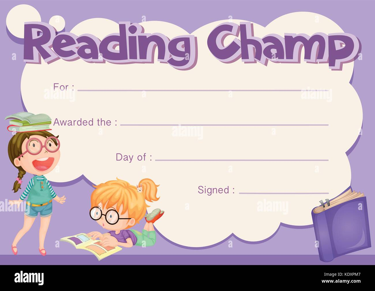 Certificate template for reading champ with purple background stock certificate template for reading champ with purple background illustration yadclub Choice Image