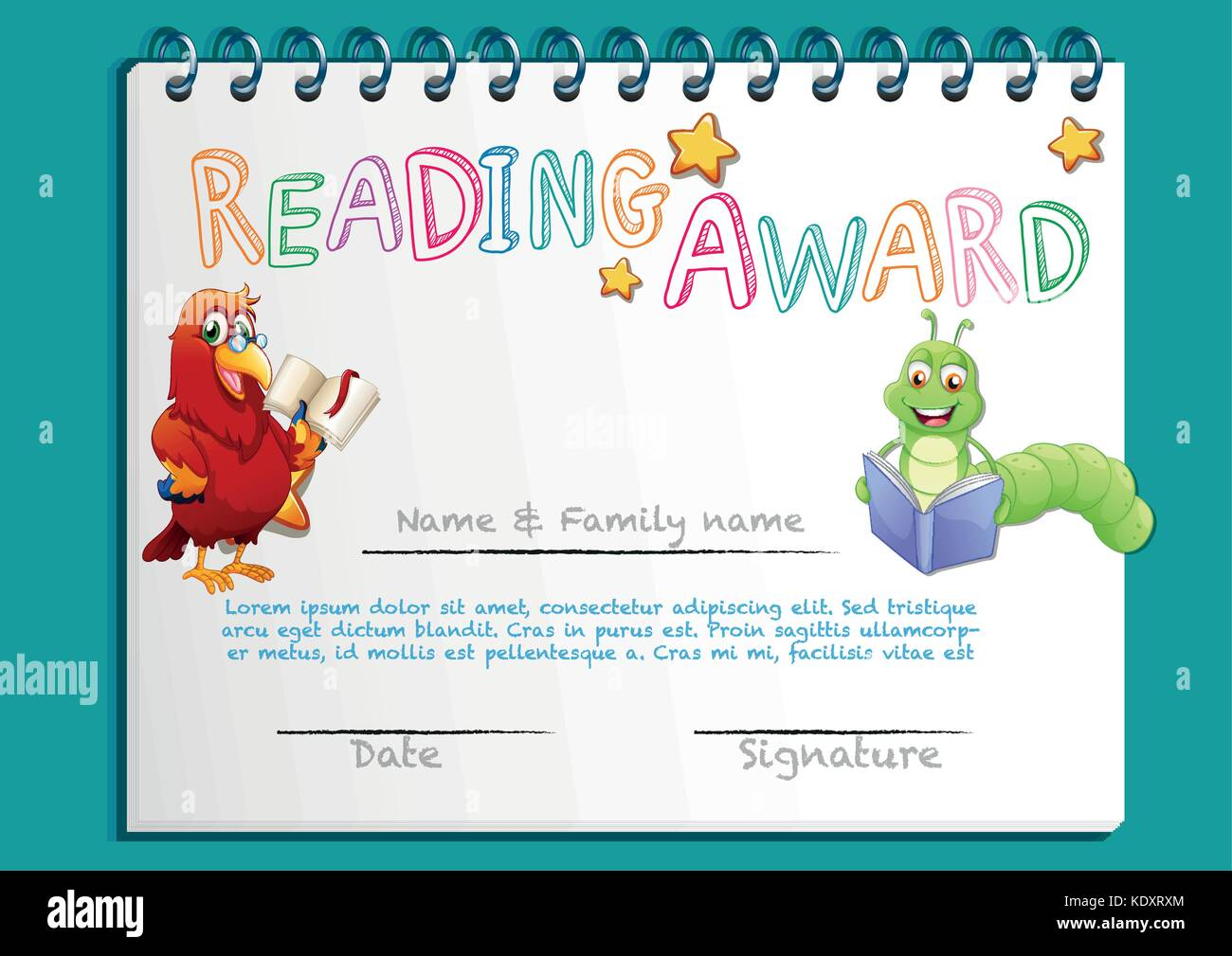 Award certificate template stock photos award certificate reading award certificate template with bird reading book illustration stock image xflitez Gallery