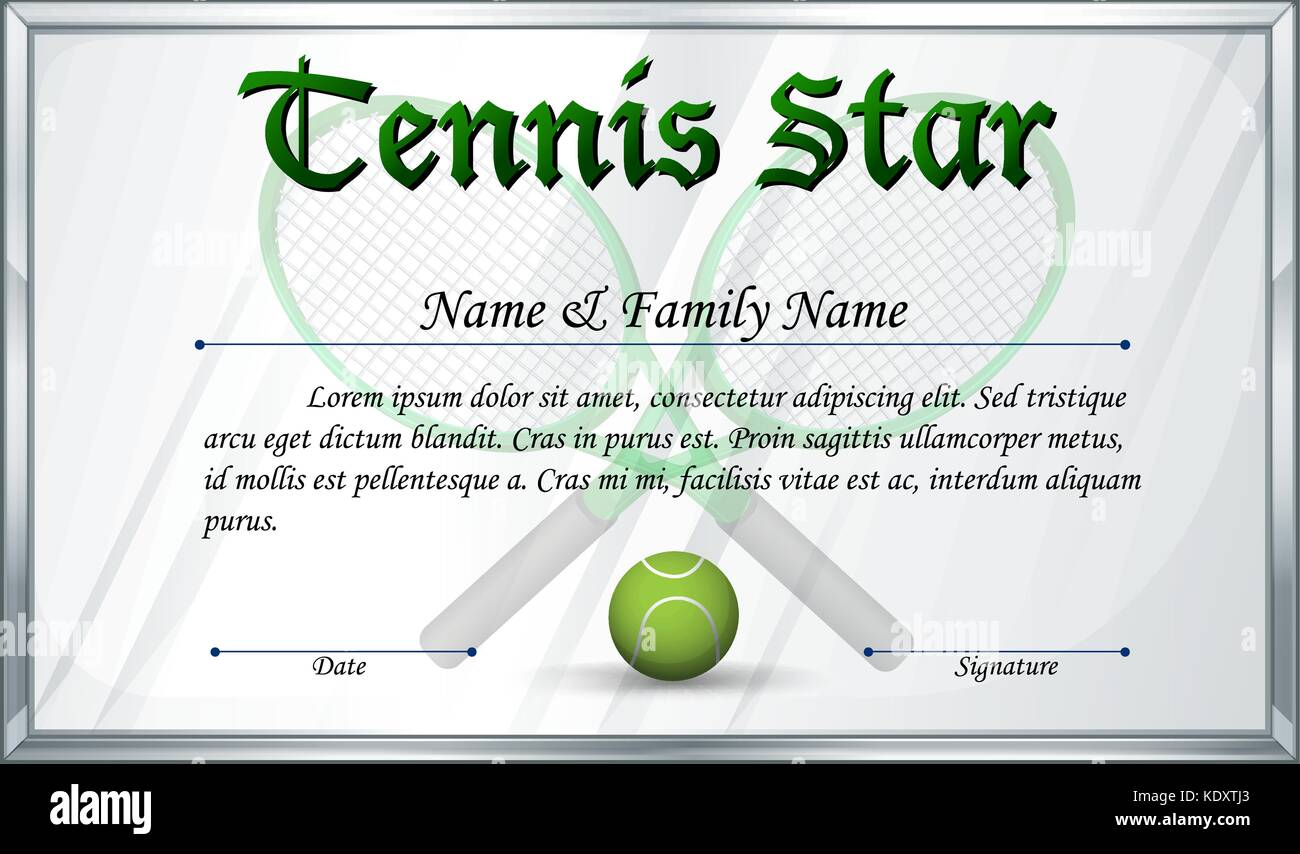Sport star recognition stock photos sport star recognition stock certificate template for tennis star illustration stock image 1betcityfo Gallery