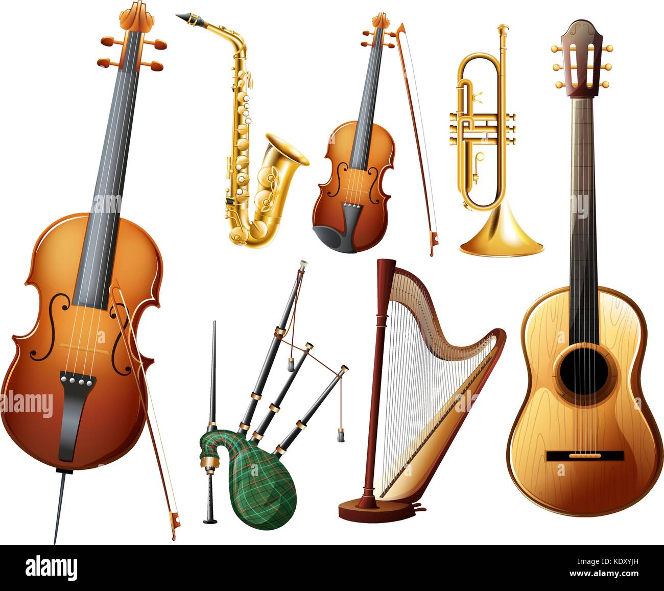 Worksheet Types Of Instruments different types of musical instruments illustration stock vector illustration