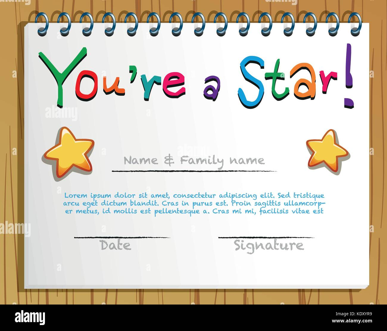 Certificate Template With Stars Illustration