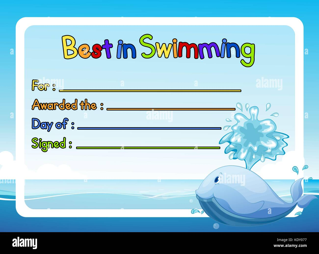 Best In Swimming Award Template With Whale In Ocean Illustration