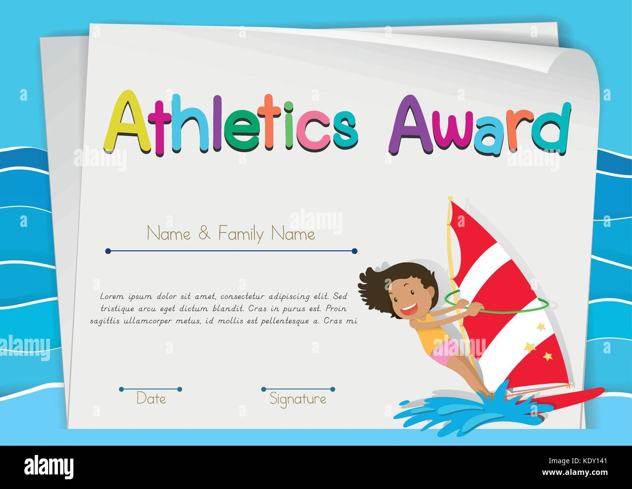 certificate template for athletics award illustration stock vector