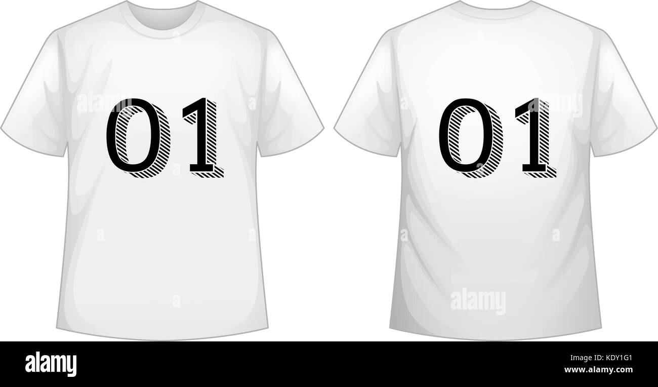 white t shirt template with front and back illustration stock vector