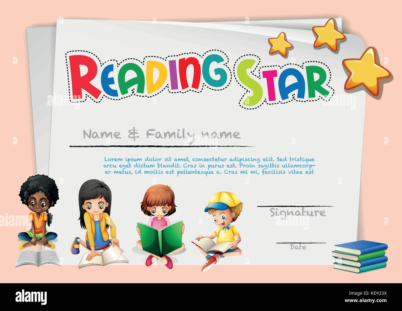 Certificate template for reading star illustration stock vector art certificate template for reading star illustration yadclub Images