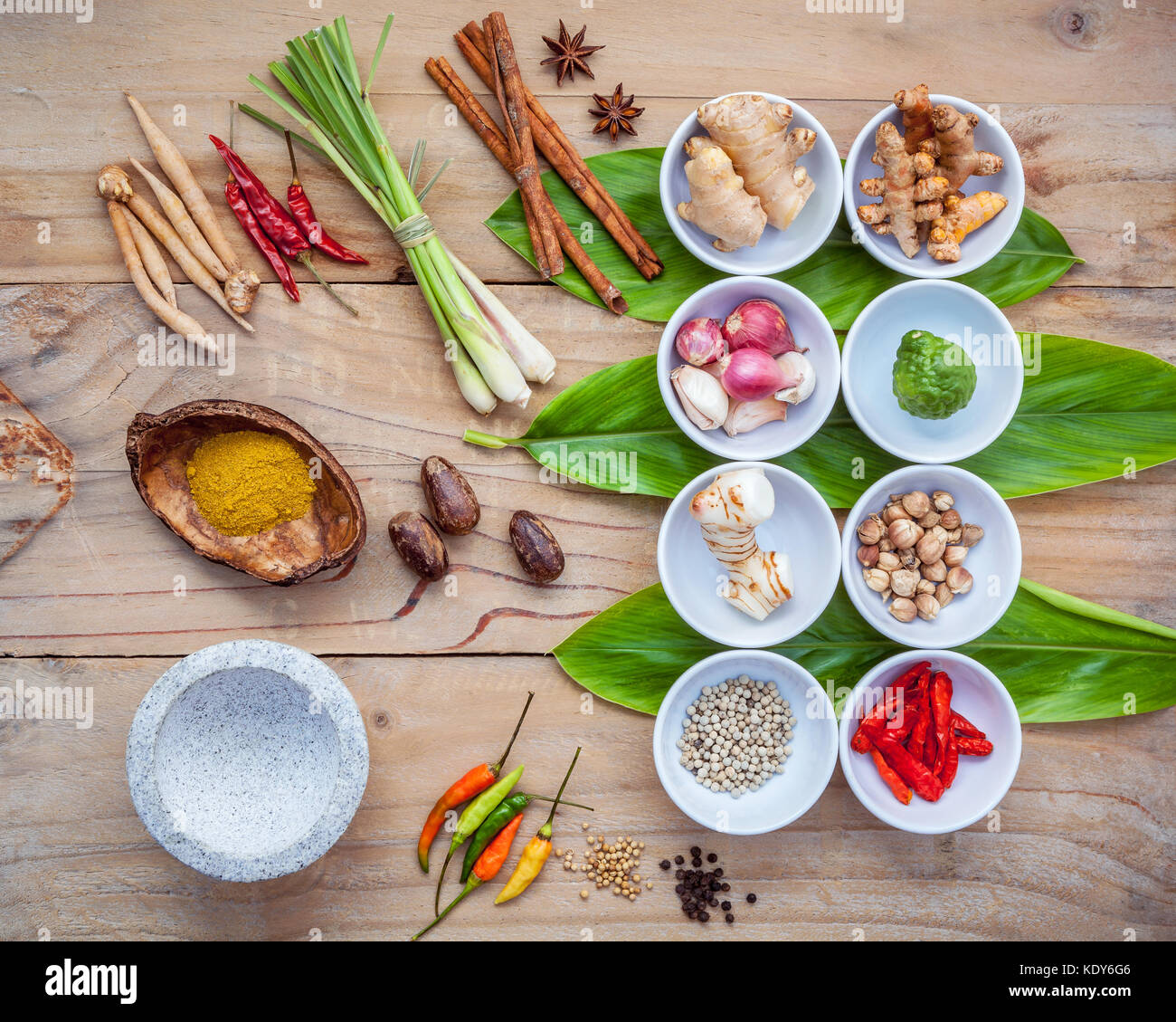 Various of thai food cooking ingredients for spice red curry paste various of thai food cooking ingredients for spice red curry paste ingredient of thai popular food on galanga leaf background spices ingredients chil forumfinder Images