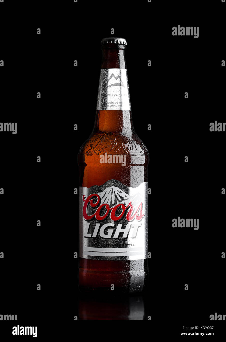 Londonuk march 30 2017 bottle of coors light beer on stock londonuk march 30 2017 bottle of coors light beer on blackbackground coors operates a brewery in golden colorado that is the largest single b aloadofball Images