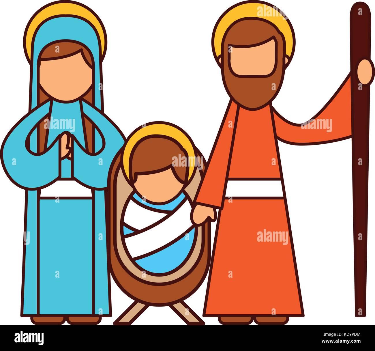 christmas nativity scene holy family jesus mary and joseph Stock ...