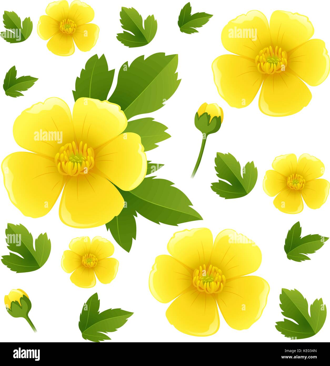 d4ee307ebad9c Seamless background with yellow buttercup flowers illustration Stock ...