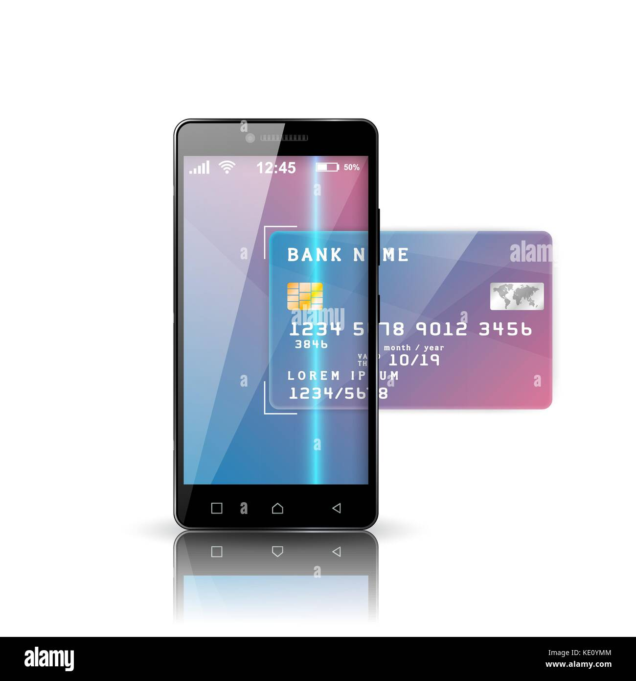 mobile bank illustration. Smartphone, business card icon Stock ...