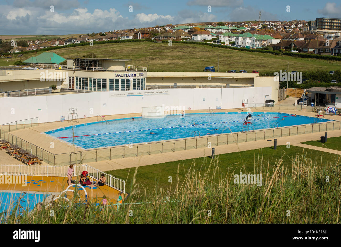 Good Newly Restored Art Deco Lido (Outdoor Swimming Pool) At Saltdean Near  Brighton, East Sussex, England. With People